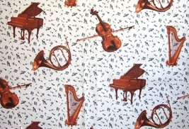 1/2 yd music/piano/harp/violin/horn ivory quilt fabric -free shipping - $7.99