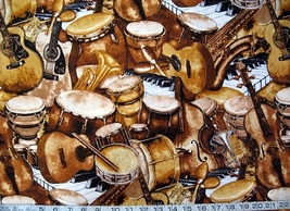 1/2 yd music/large musical instruments quilt fabric -free shipping