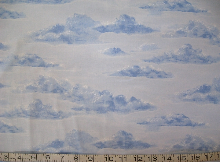 1/2 yd blue clouds/sky/landscape sky blue quilt fabric