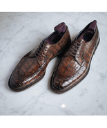 Brown Handmade Alligator Texture Leather Lace Up Shoes - $159.97 - $169.97