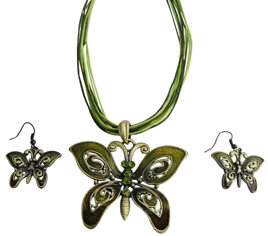 Olivine Rhinestones Green Enamaled Butterfly Necklace Set