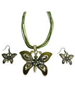 Olivine Rhinestones Green Enamaled Butterfly Necklace Set - $17.36
