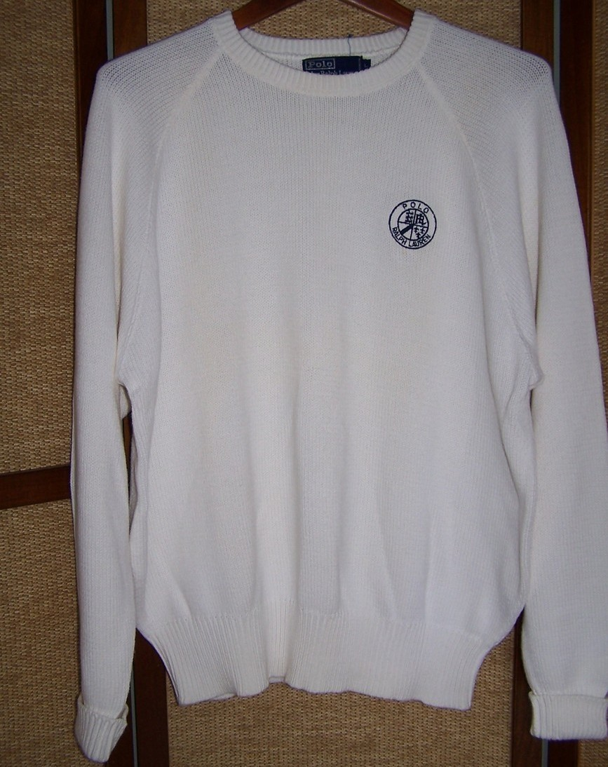 Sweater  Large  Long Sleeve White Cotton Ralph Lauren