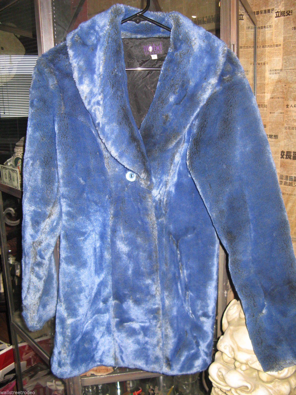 Rare Vintage 90s Morbid Threads monster fur raver glam pleather coat Rocker L
