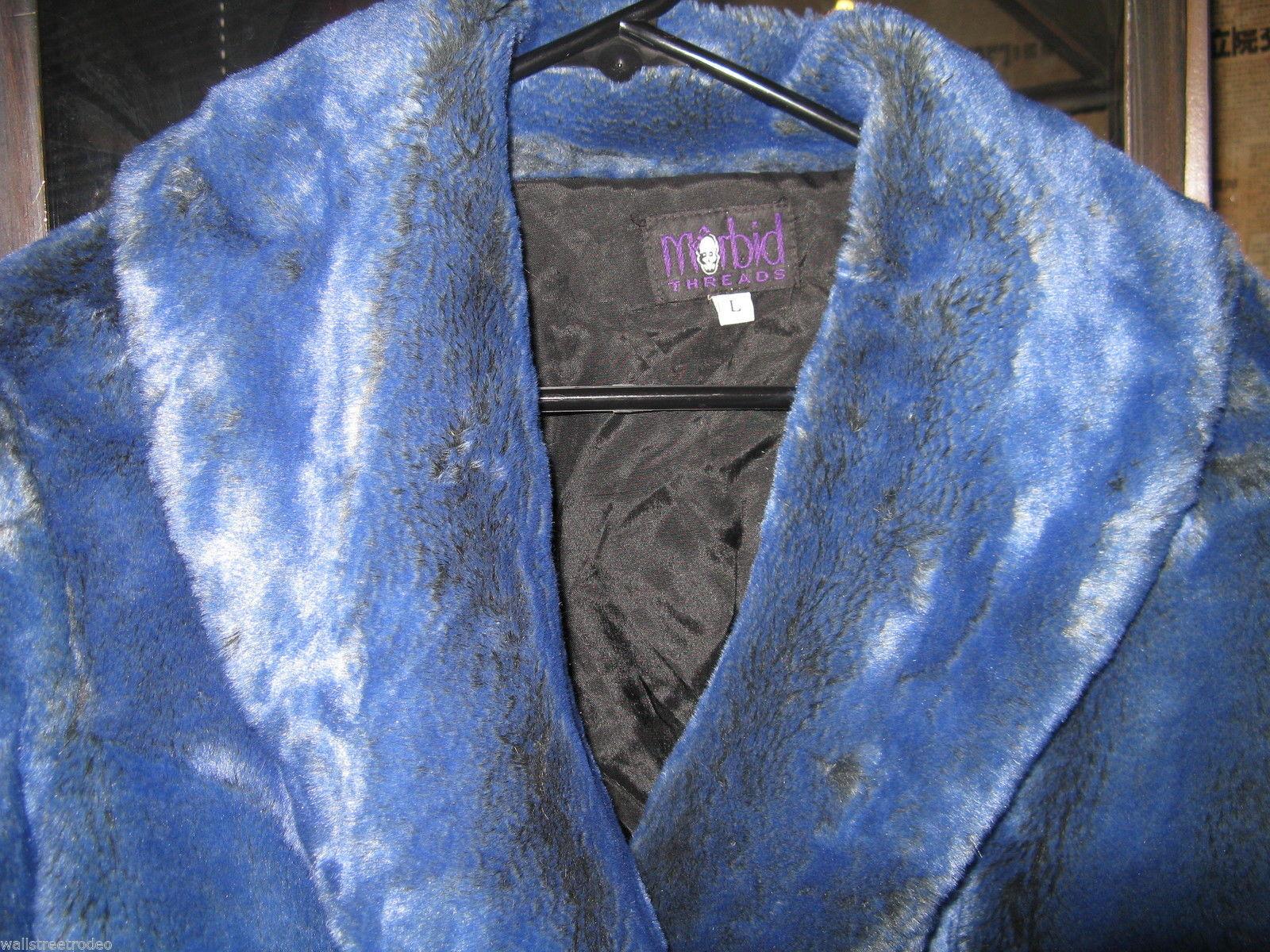 Rare Vintage 90s Morbid Threads monster fur raver glam pleather coat Rocker L image 3