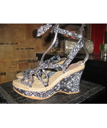 NuvoLaBella bandanna Tiki Oasis platform wedge sandals shoes VLV 6.5 UK4 37 - $72.58
