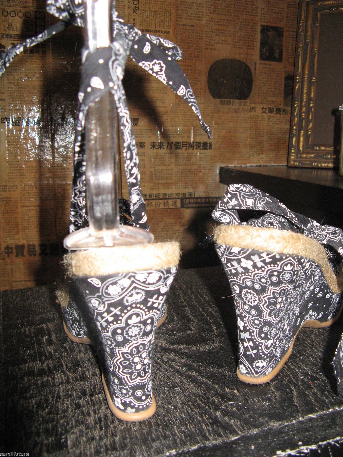 NuvoLaBella bandanna Tiki Oasis platform wedge sandals shoes VLV 6.5 UK4 37