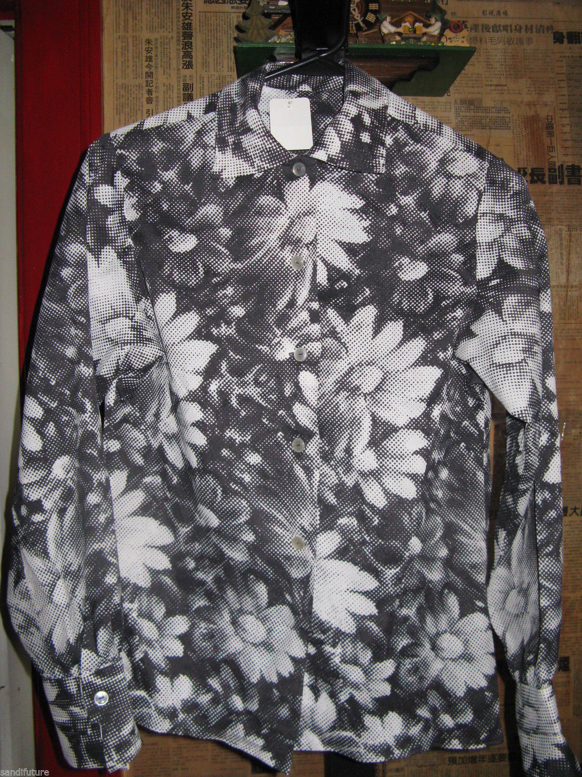 70s 60s Op Art Pop optic daisy floral shirt blouse french cuffs S-M