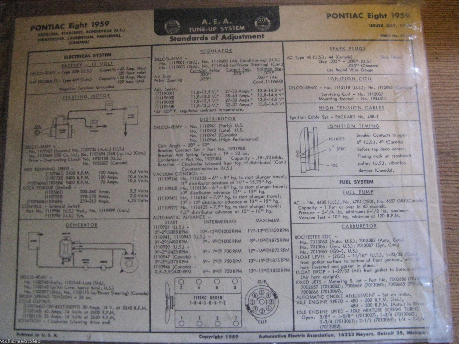 1959 59 Pontiac Catalina Bonneville Star Chief A.E.A. Tune-up System chart 8