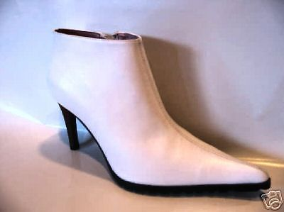 NYLA N.Y.L.A. new wave punk Madonna ankle white heels stiletto boot 7 UK5 37 .