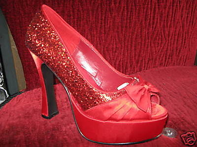 "Peep toe 5"" red glitter platform Dorothy Wizard Oz rockabilly shoes VLV 8 5.5UK"