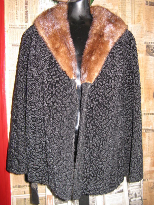 vintage faux Persian curly lamb coat mink collar VLV