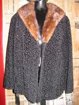 vintage faux Persian curly lamb coat mink collar VLV image 1