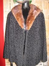 vintage faux Persian curly lamb coat mink collar VLV image 2