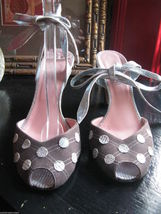 Jill Stuart polka dot ankle wrap shoes brown metallic blue 6.5 UK4 36.5 VLV image 8