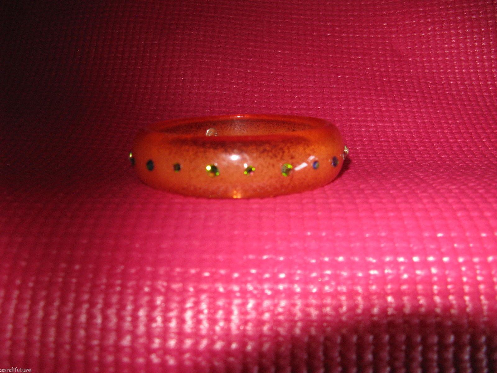 Tarina Tarantino Swarovski crystals lucite orange bubble bangle bracelet