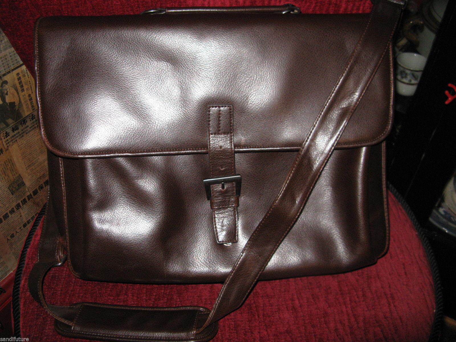 Ellington Portland Belmont classic travel vintage brown leather briefcase as-is