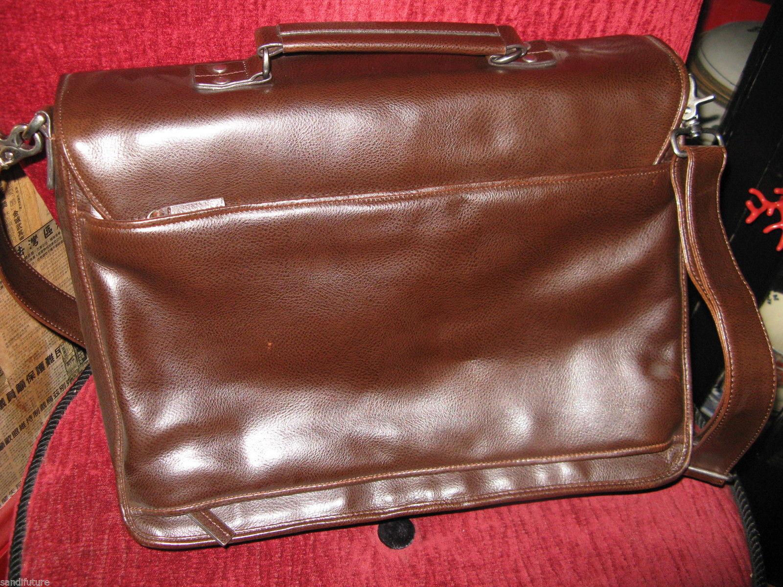 Ellington Portland Belmont classic travel vintage brown leather briefcase as-is image 2