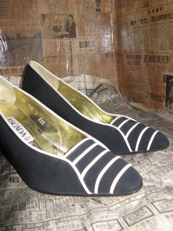 Escada 80s file leather naval heels shoes 6 UK4 36