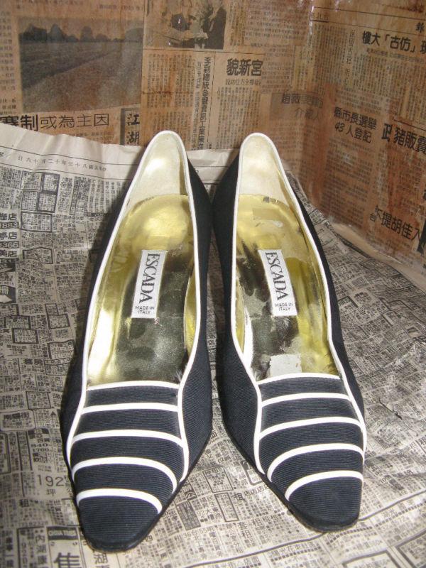 Escada 80s file leather naval heels shoes 6 UK4 36 image 2