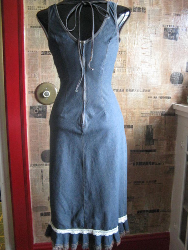 Hot Kiss 70s pin-up boho denim jeans wiggle dress VLV XS 1 image 5