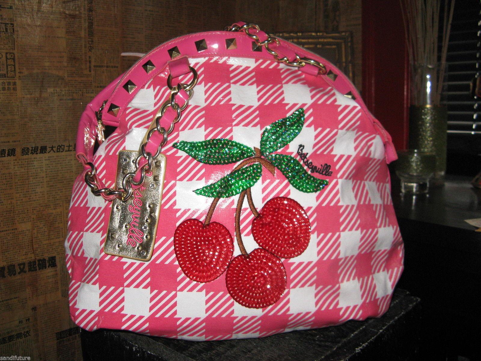 Betsey Johnson Betseyville Cherry Picker rockabilly gingham pin-up handbag VLV
