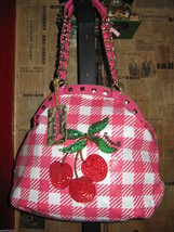 Betsey Johnson Betseyville Cherry Picker rockabilly gingham pin-up handbag VLV image 2