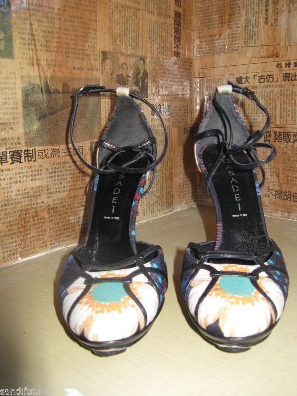 Casadei stiletto chrysanthemum pinup sling back shoes heels 6 UK3.5 36 image 3