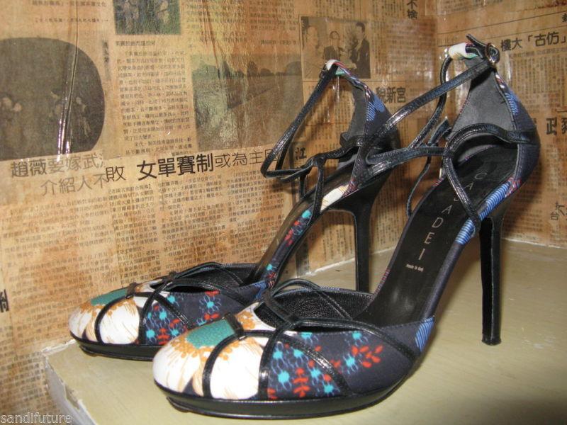 Casadei stiletto chrysanthemum pinup sling back shoes heels 6 UK3.5 36