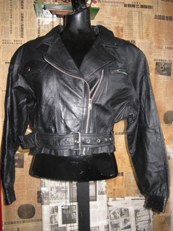 Vintage 80s cropped motocycle biker leather jacket VLV image 3