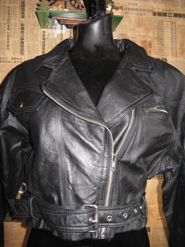Vintage 80s cropped motocycle biker leather jacket VLV