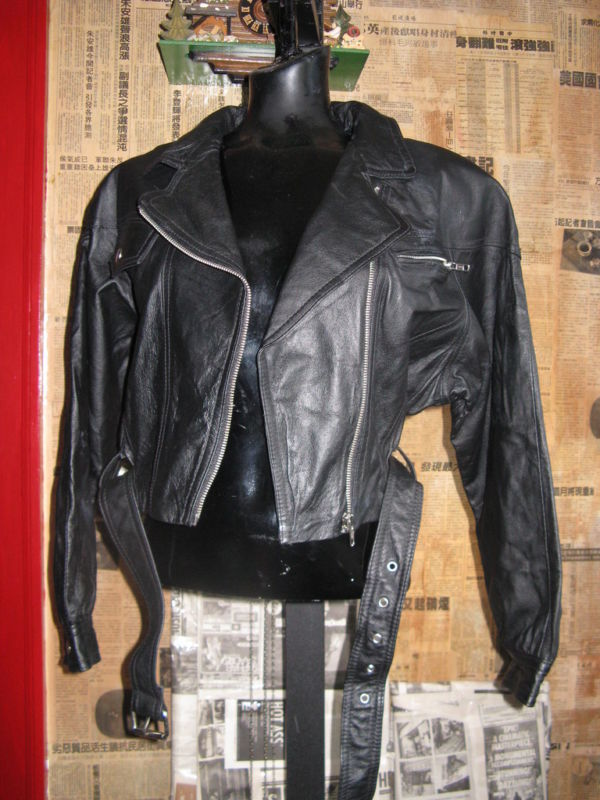 Vintage 80s cropped motocycle biker leather jacket VLV image 2