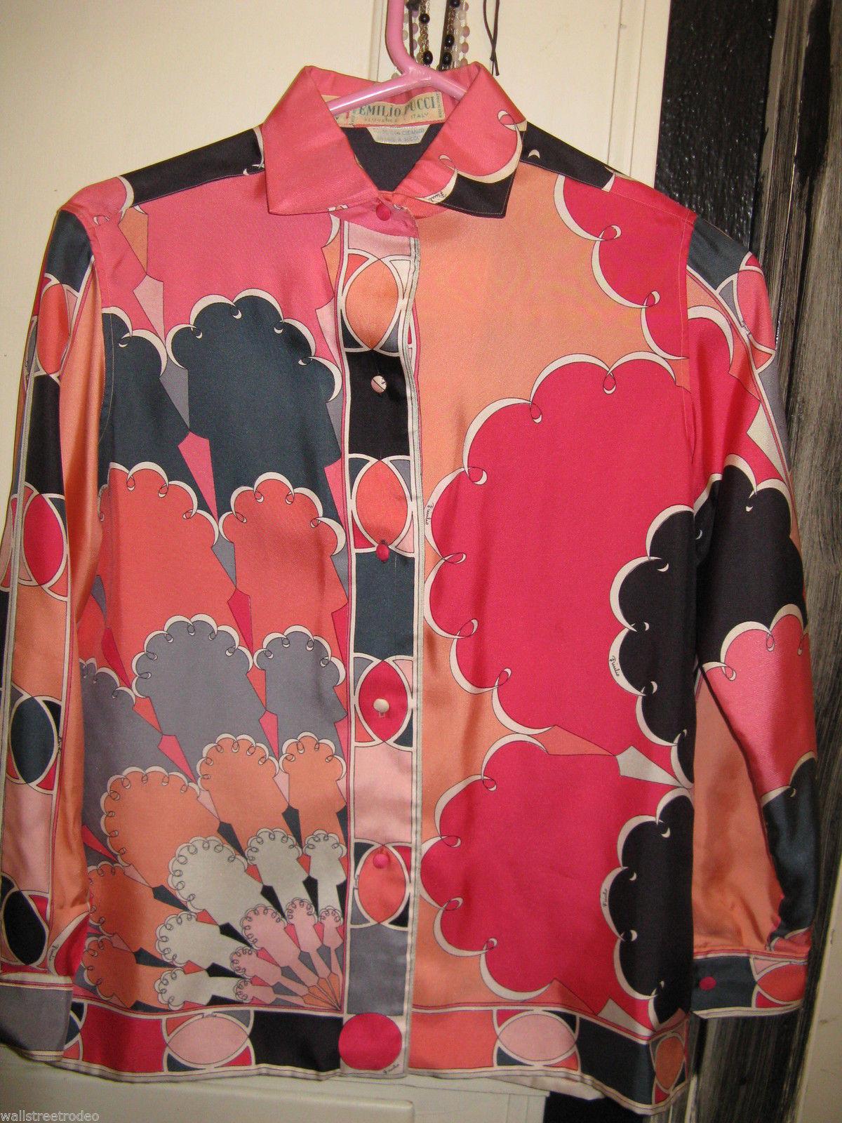 Vintage Emilio Pucci Saks fifth Avenue Iconic pop art silk 1960s Italy shirt 8