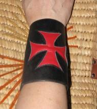 Smakworks Lip Service Iron Maltese Cross leather wristband cuff bracelet XS image 1