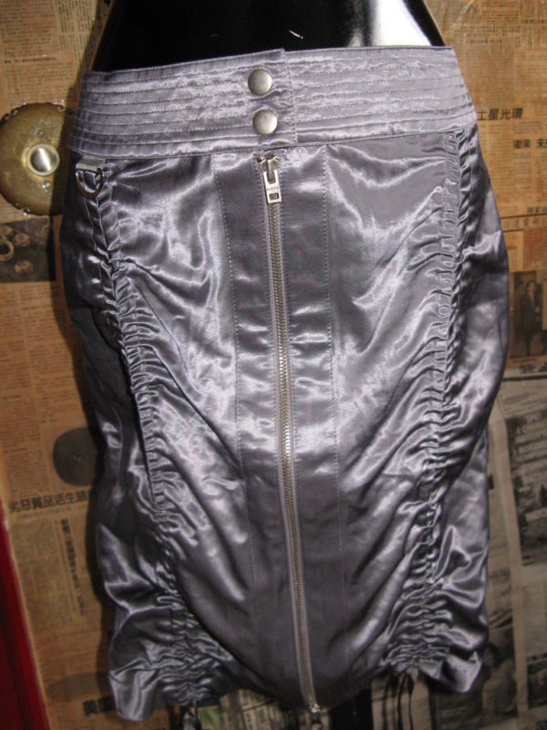 Bebe ruche punk tech technical gunmetal skirt 2