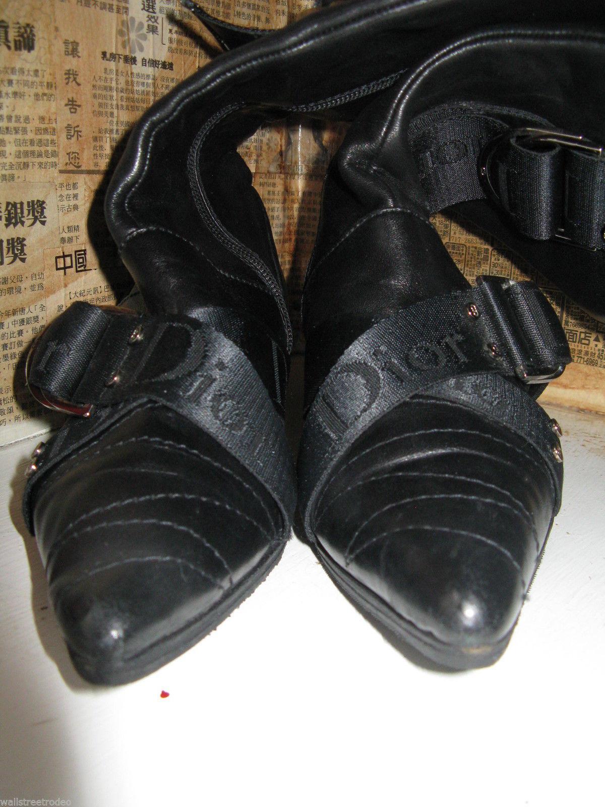 Dior biker logo quilted butter leather motorcylce punk runway boots 6 36 UK3.5 image 4
