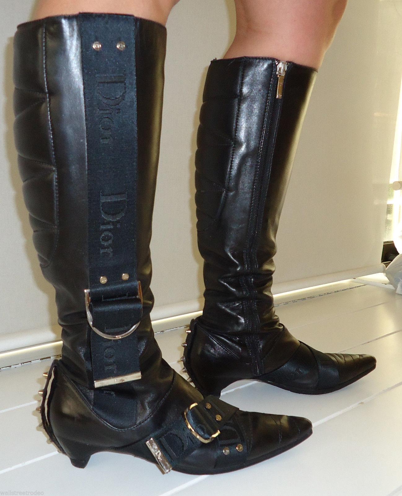 Dior biker logo quilted butter leather motorcylce punk runway boots 6 36 UK3.5