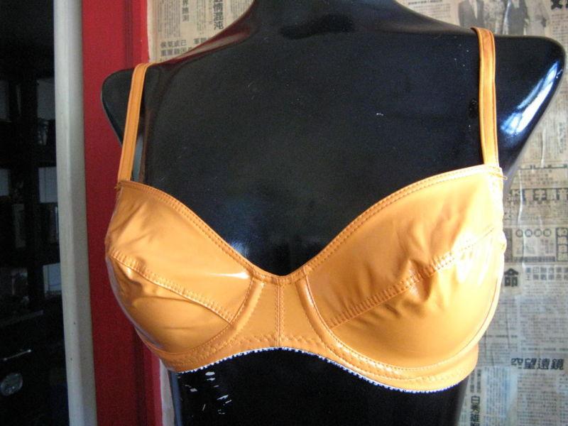 Deborah Marquit Designer Archive orange vinyl bra 32D image 3
