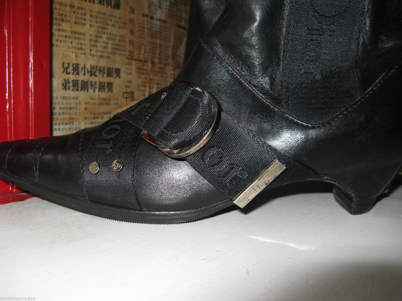 Dior biker logo quilted butter leather motorcylce punk runway boots 6 36 UK3.5 image 6