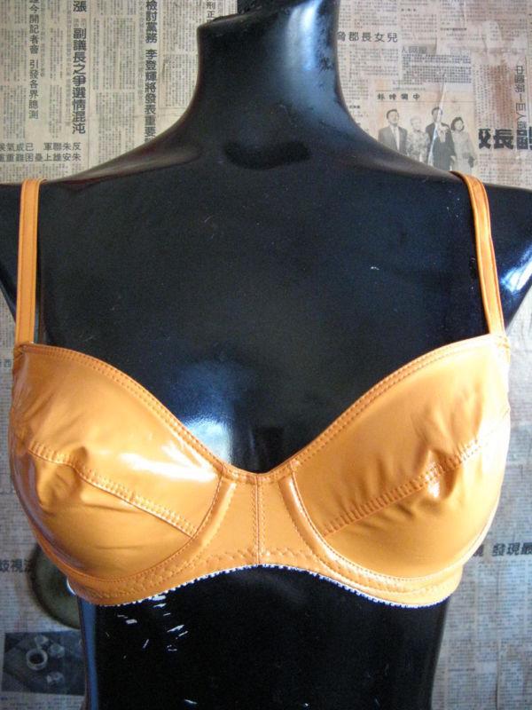 Deborah Marquit Designer Achive orange vinyl bra 34B