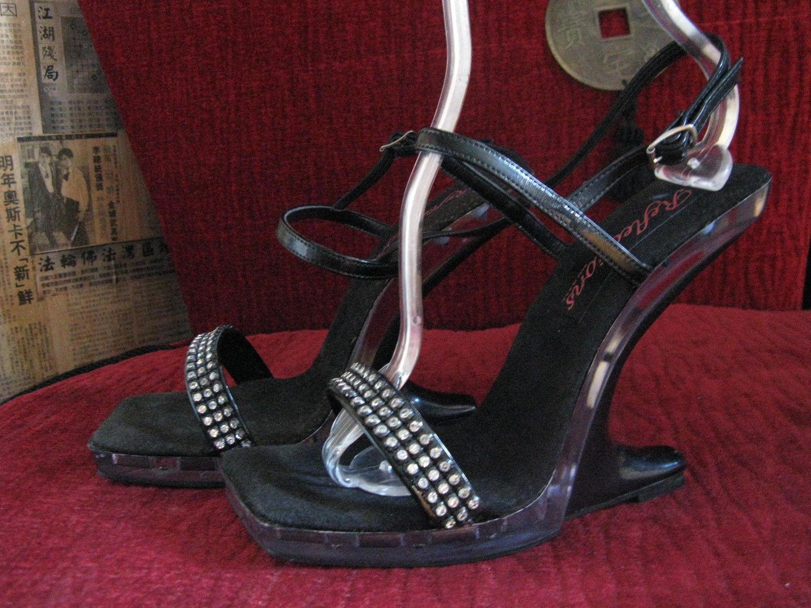 Reflections lucite rhinestone pin-up platform sandals shoes 38 8 UK5.5 VLV