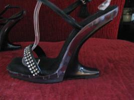 Reflections lucite rhinestone pin-up platform sandals shoes 38 8 UK5.5 VLV image 3
