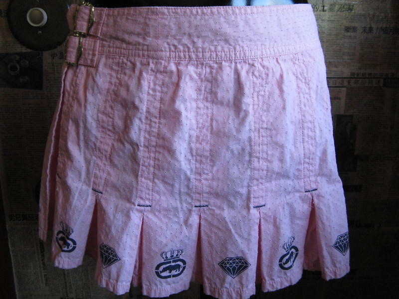 Ecko Red Lux pink school girl diamond pleated mini kilt skirt 7