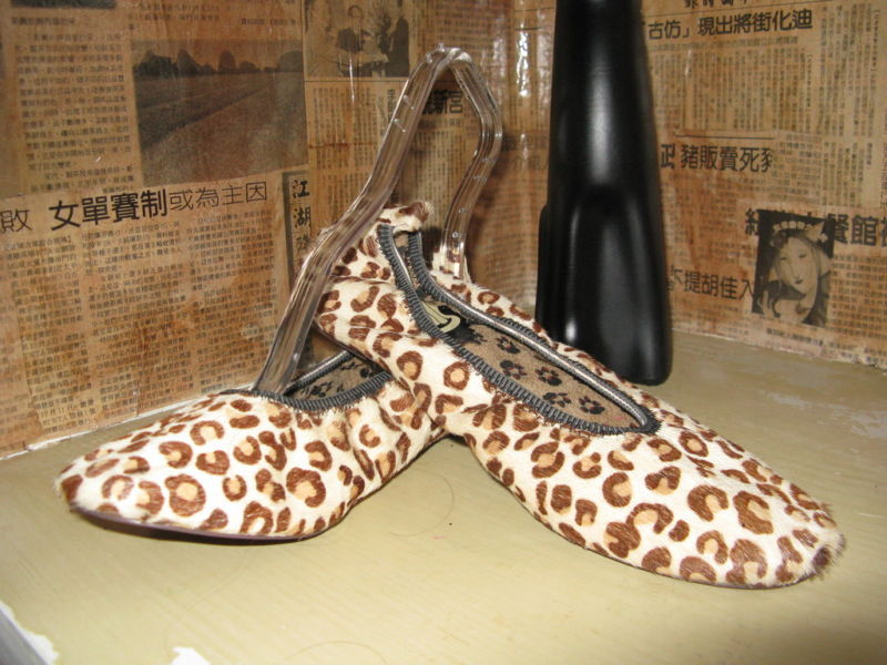 TUK T.U.K. pony hair leopard print flats ballet shoes VLV 7 UK4.5
