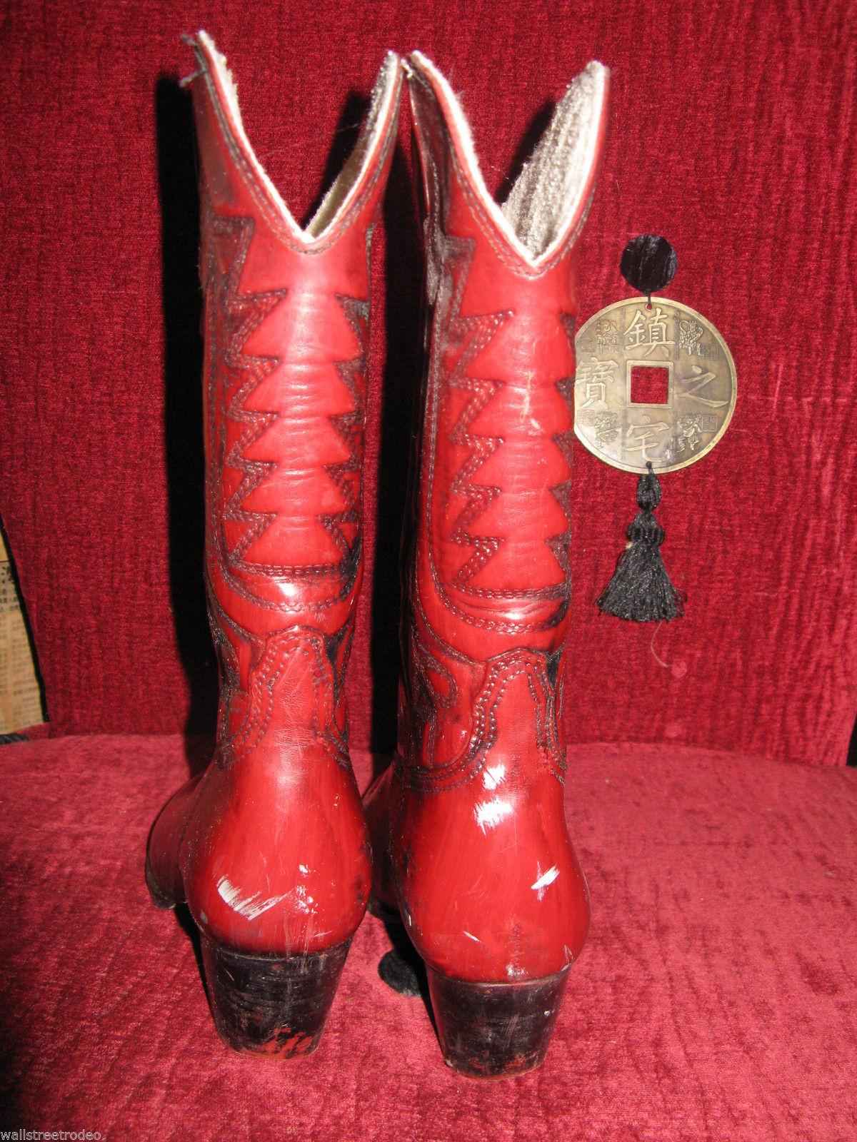 Vintage 70s 80s Rubber moulded cowboy cowgirl Vegan boots USA 6.5 UK4 36.5 VLV