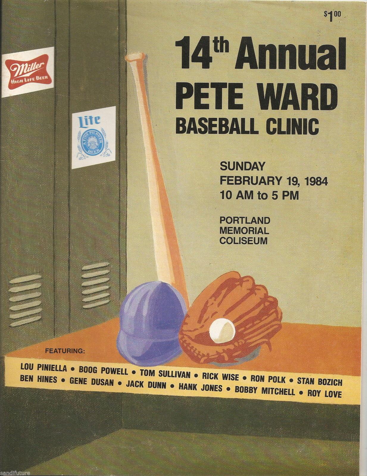 1984 Pete Ward Baseball Clinic program Lou Piniella Boog Powell Kevin McBride