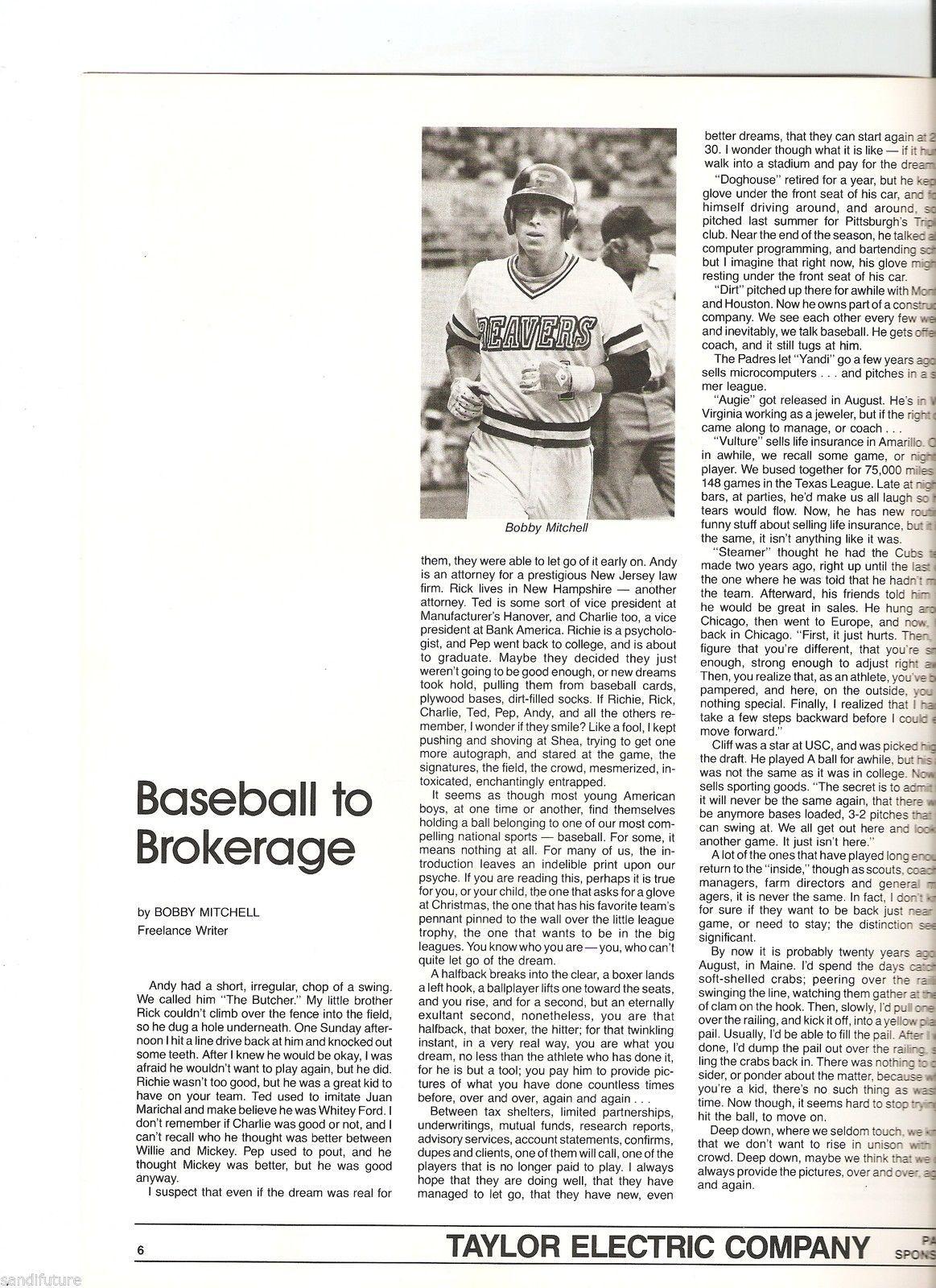 1984 Pete Ward Baseball Clinic program Lou Piniella Boog Powell Kevin McBride image 3