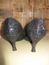 50s 60s Black Opal Glitter Pin-up stilettos 7 UK5 VLV image 2