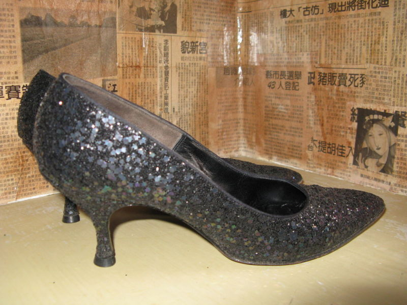 50s 60s Black Opal Glitter Pin-up stilettos 7 UK5 VLV