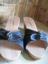 Vintage NWT Betsey Johnson Lucky Lou Tiki carved wooden shoes VLV 7 UK5.5 37 image 4